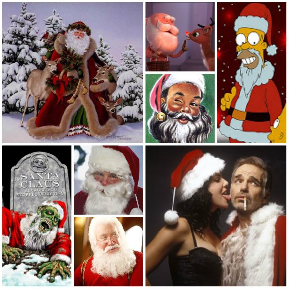 Pick a Santa, any Santa. They're all as real as you want them to be. (Photos: Various sources.)