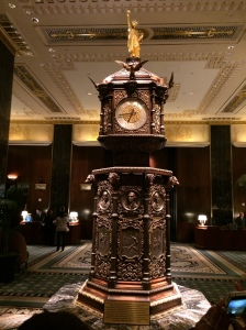 The lobby clock at the Waldorf-Astoria.