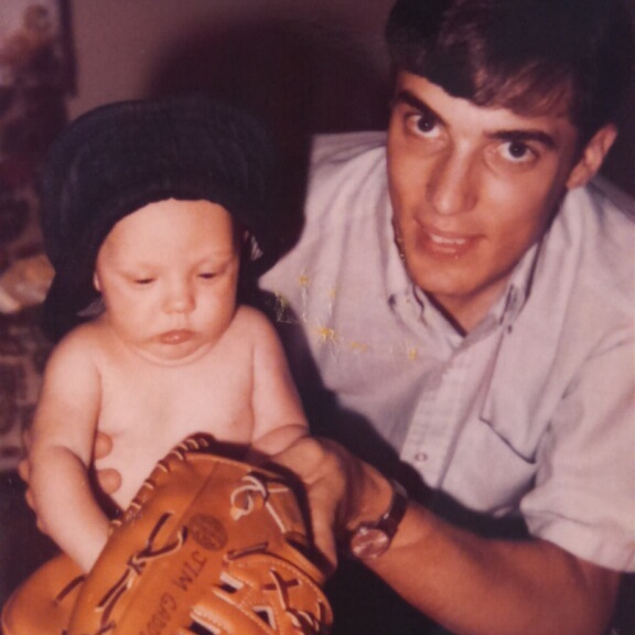 That little guy looking askance at that huge hunk of smelly leather would grow up to become a voter in the annual BBWAA Hall of Fame balloting. Dad got me started early on the game.