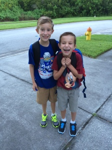 One of the benefits of leaning in at home is I escort the boys to the school bus stop in the morning and meet them there in the afternoon. The smiles and hugs when they come off the bus are priceless.