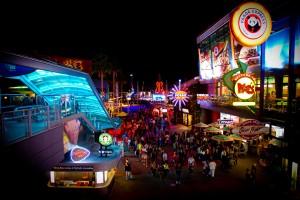 Universal CityWalk at night -- neon!            Photo: Universal Orlando.