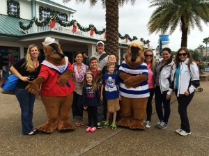 The Snowy Holiday party had a great time with our hosts, Experience Kissimmee. Here we were together at SeaWorld, with a couple of new sea lion friends.