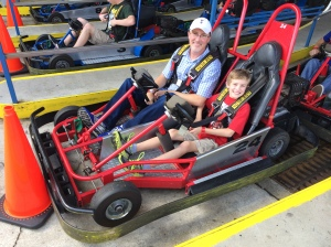At the starting line of the multi-level go-carts at Fun Spot America in Kissimmee.