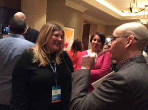 One of the seminal moments of the fifth annual Dad 2.0 Summit: Beth Blauer, left, meets author Brad Meltzer, the opening keynote speaker. Meltzer dedicated his speech to Blauer and her late husband, Oren Miller, a leader and friend who helped galvanize the dad blogging community around the world.