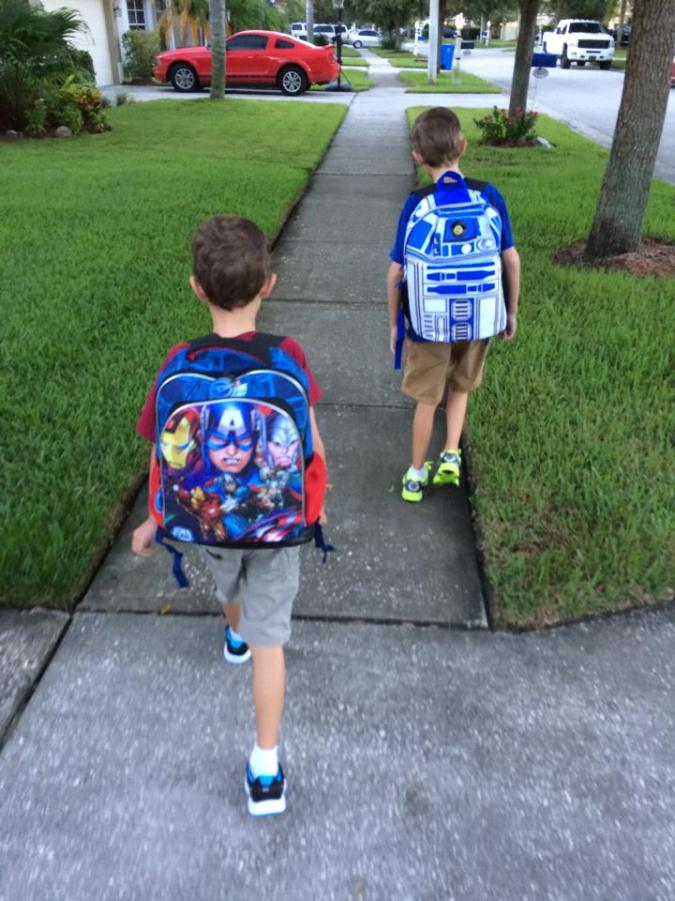 Kids Walk to Bus
